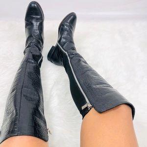 Michael Kors Croc Print Over The Knee High Boots